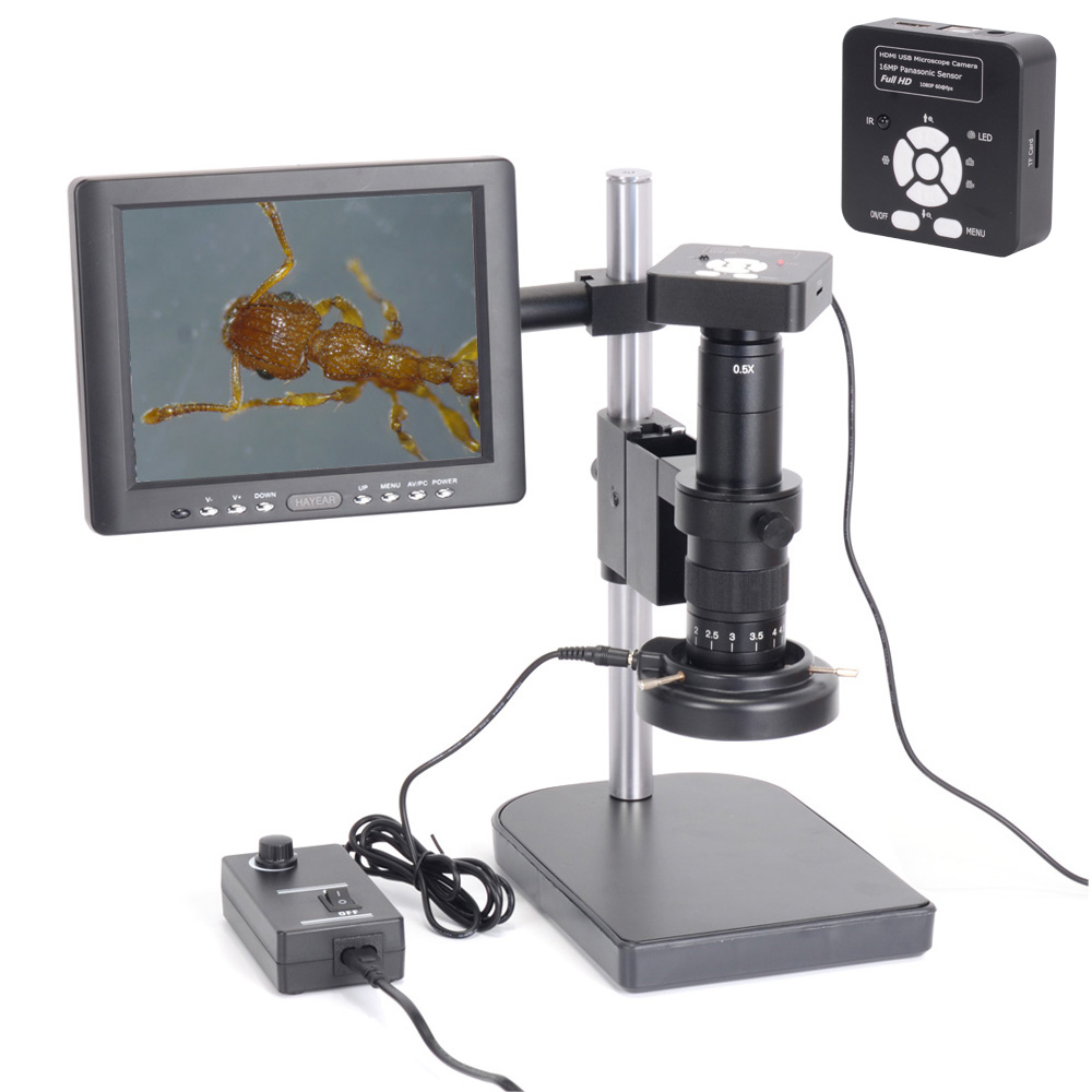 Full Set 1080P 60FPS 2K Industrial Microscope Camera HDMI USB Outputs with 180X C-mount Lens HY-1137B